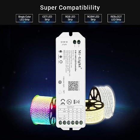 Amazon.com : Mi Light RGBW RGBWW W/CW RGBCCT Controller Compatible with Amazon Alexa Voice Control, 2.4G Wireless 15A Led Strip Light WiFi APP Bridge ...