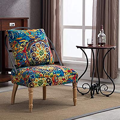 Lansen Furniture Pattern Prints Velvet Fabric Contemporary Accent armless Chair Club with Solid Wood Legs (Green Pattern) - Armless accent chair constructed with a pattern velvet fabric and hardwood frame Its fabric is designed with an old-fashioned pattern fabric for a chic addition to your living space Crafted with a soft foam upholstery and barrel seat back to ensure optimal comfort while seated - living-room-furniture, living-room, accent-chairs - 61PYoweWlkL. SS400  -