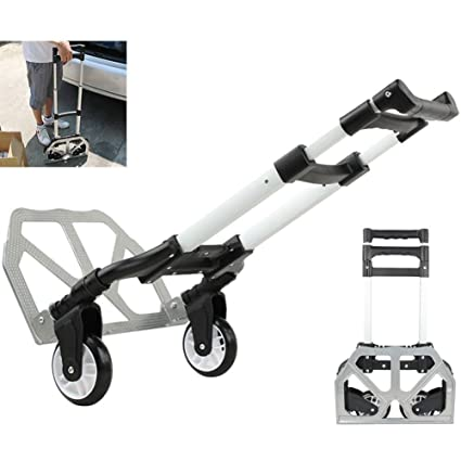 859203ed73bc 170 lbs Aluminium Cart Folding Dolly Push Truck Hand Collapsible Trolley  Luggage