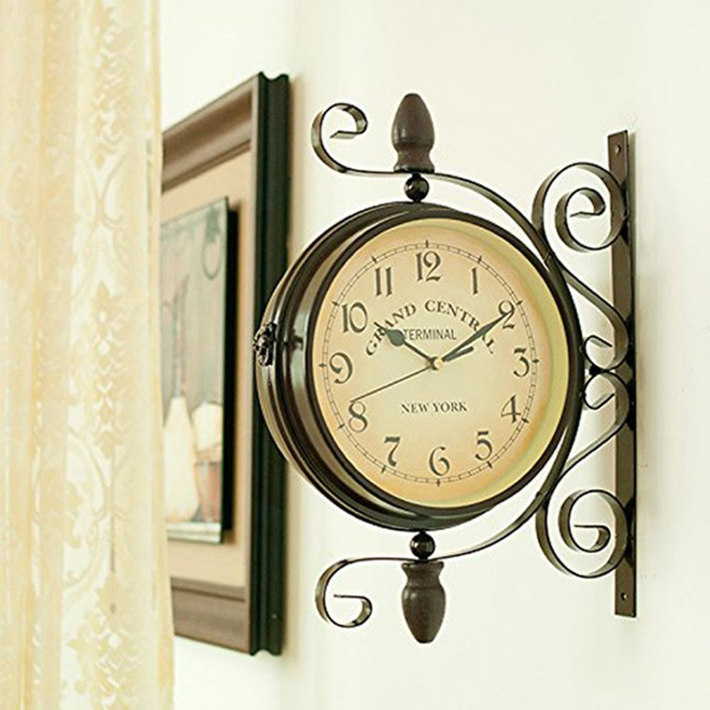 Amazon.com: wooch Wrought Iron Antique-Look Brown Round Wall Hanging ...