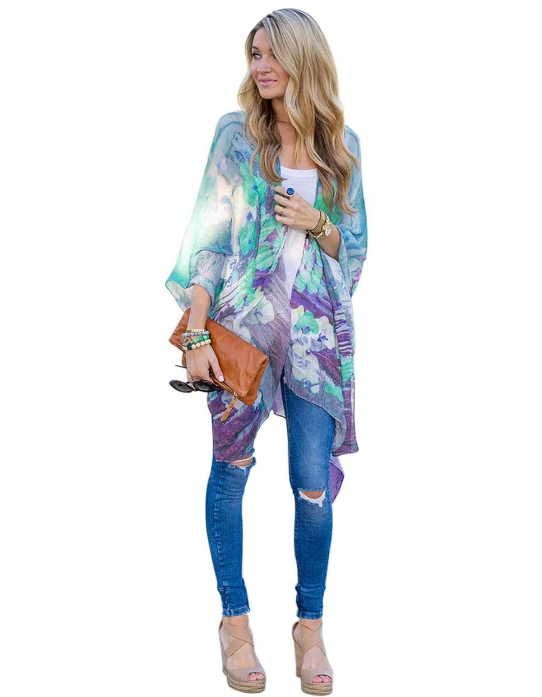 Fanala Women Printed Chiffon Shawl Kimono Cardigan Tops Cover up ...
