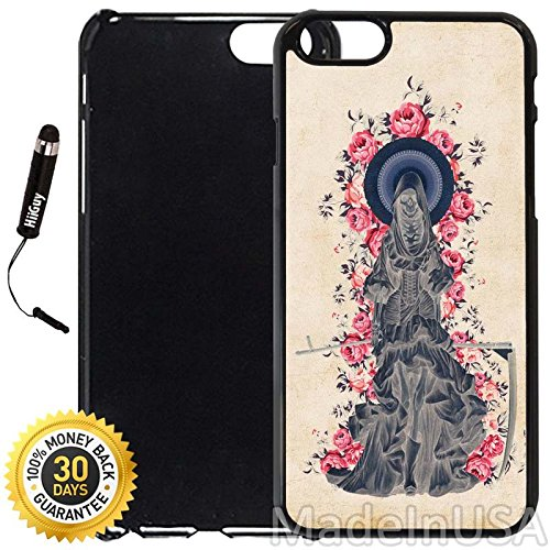Custom iPhone 6/6S Case (Holy Death Santa Muerte) Edge-to-Edge Plastic Black Cover with Shock and Scratch Protection | Lightweight, Ultra-Slim | Includes Stylus Pen by INNOSUB ()