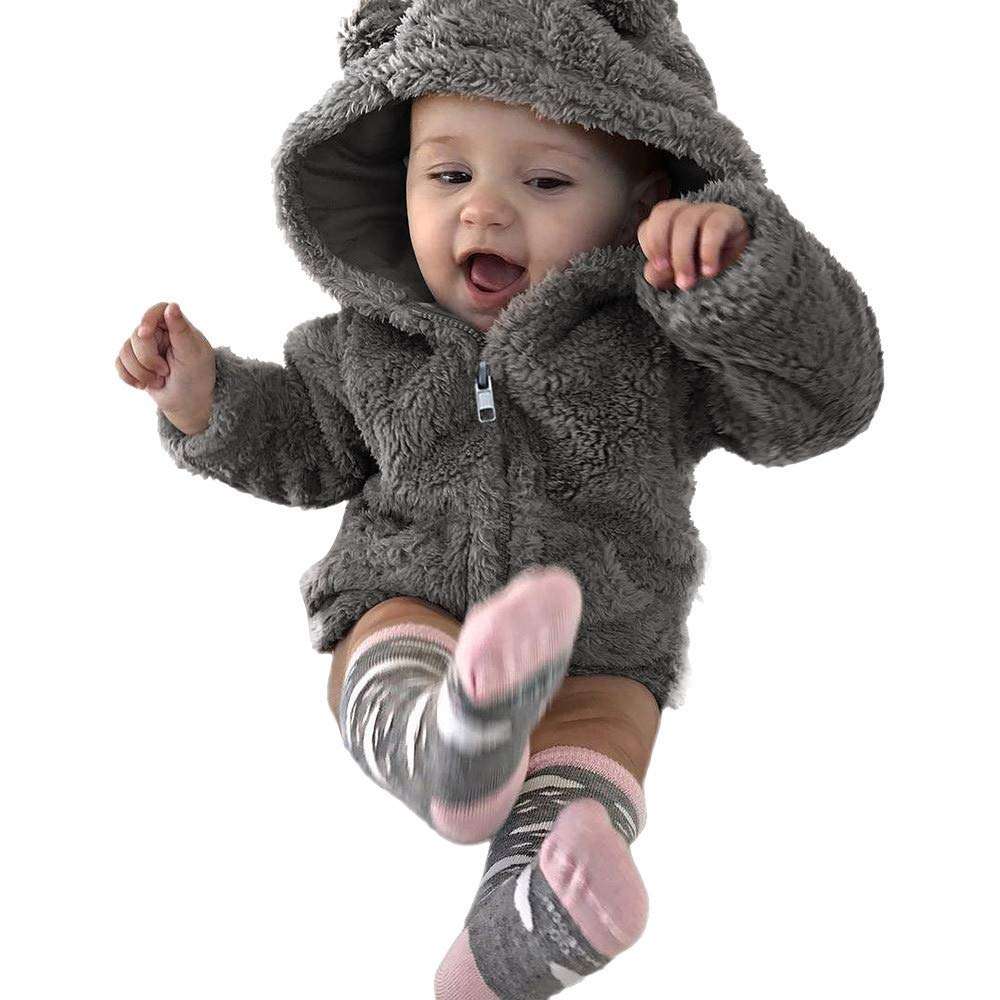 Kobay Baby Unisex Coat Toddler Baby Boys Girls Hoodie Winter Warm Coat Jacket Cute Thick Clothes Cardigan Outerwear for 0-3 Years
