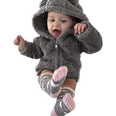 BZLine Manteau Mignon d enfant en Bas âge, Bébés garçons Filles Vêtements d  hiver à Capuche Chaud et épais (Gris, 0-6 Mois)  Amazon.fr  Vêtements et ... 87ca0b99f1a