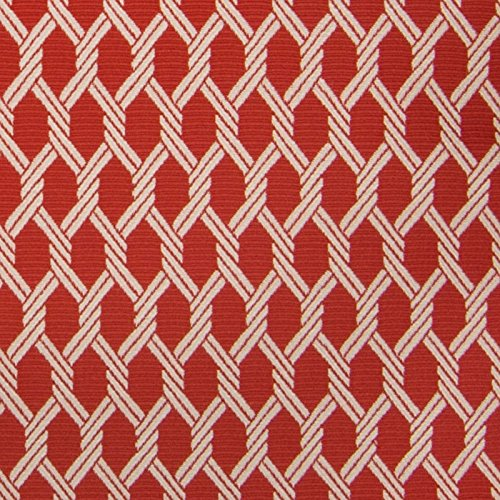 Red Snapper Red Beach Geometric Lattice Woven Upholstery Fabric by the yard (Snapper Sofa)