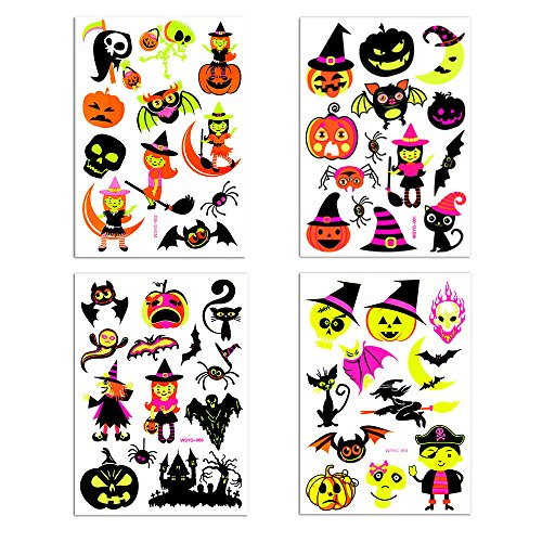 [Temporary Tattoos Halloween Makeup for Boys and Girls Fluorescent Witch,Pumpkin,Gost and Bat Tattoos s Glow in the Dark Get fun on] (Halloween Cut Out Patterns For Pumpkins)