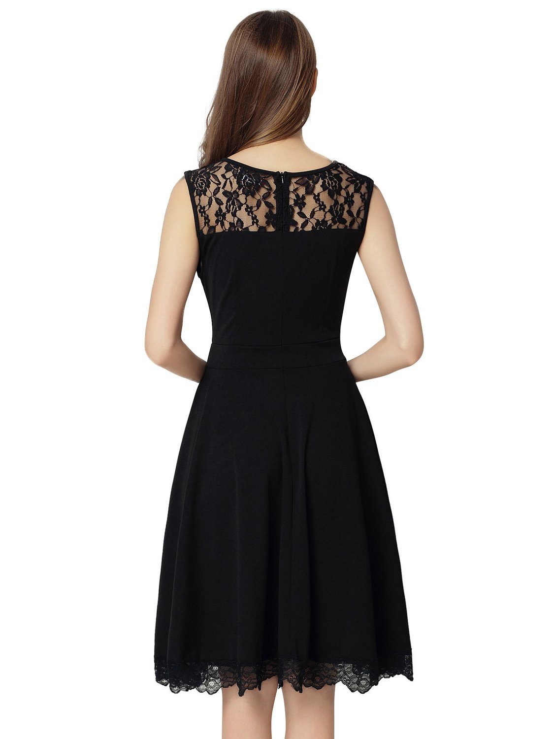 Dresms Women Sleeveless Lace Floral Elegant Cocktail Dress Crew Neck Knee Length (Black, Small) by Dresms (Image #5)