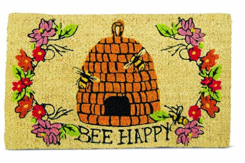 Tag Bee Happy Doormat - Coir Mat Tag