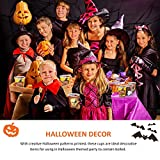 LegendTech Paper Cups Recycled Coffee Paper Cups Togo Halloween Parper Cups for Party Insulated Paper Cup for Tea, Hot Chocolate 100 Packs Smile Pumpkin Skull Bat Ghost