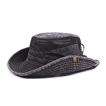 d34da37d2ee SAENSHING Men s Cotton Embroidery Fisherman Hat Mesh Visor Bucket Hats  Outdoor Wide Brim Sunshade Cap (