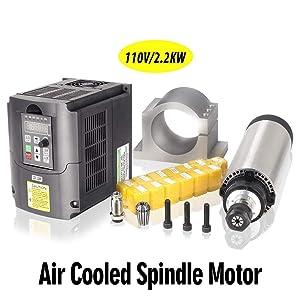 MYSWEETY 1Set DIY 110V 2200W Air Cooled Spindle Motor CNC Spindle Motor 80MM 2.2KW + 110V 2.2KW Converter + 13pcs ER20 Collet + 80MM Clamp