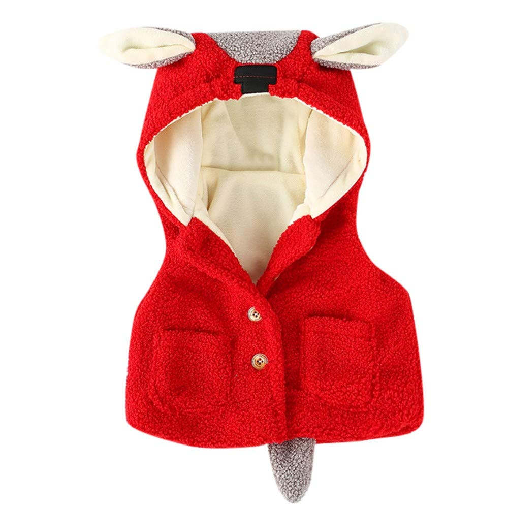 Newborn Winter Warm Sleeveless Coat,Jchen(TM) Clearance! Toddler Baby Girl Boys Sleeveless Cartoon Ears Hooded Waistcoat Thick Warm Outerwear for 0-24 Months (Age: 6-12 Months, Red)