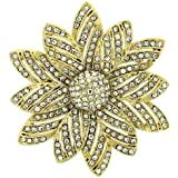 Brooches Store Gold and Clear Crystal Daisy Flower Brooch