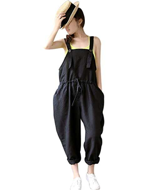 43d41ca31774 Amazon.com  Yeokou Women s Loose Baggy Linen Wide Leg Jumpsuit Rompers  Overalls Harem Pants  Clothing