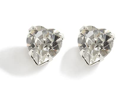 Clip On Earrings Heart Diamante Stud Earrings - Swarovski Crystal Earrings  - Swarovski Heart Earrings - Silver Plated  LJ Designs and Oaks Jewellery   ... e242e645ef