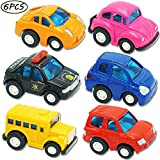 UiiQ Pull Back Cars, 6 Pack Assorted Mini City Racer Cars Alloy Die-cast Vehicles Playset Friction Powered Go Truck Toy Gift Party Favors Kids (Style May Vary)