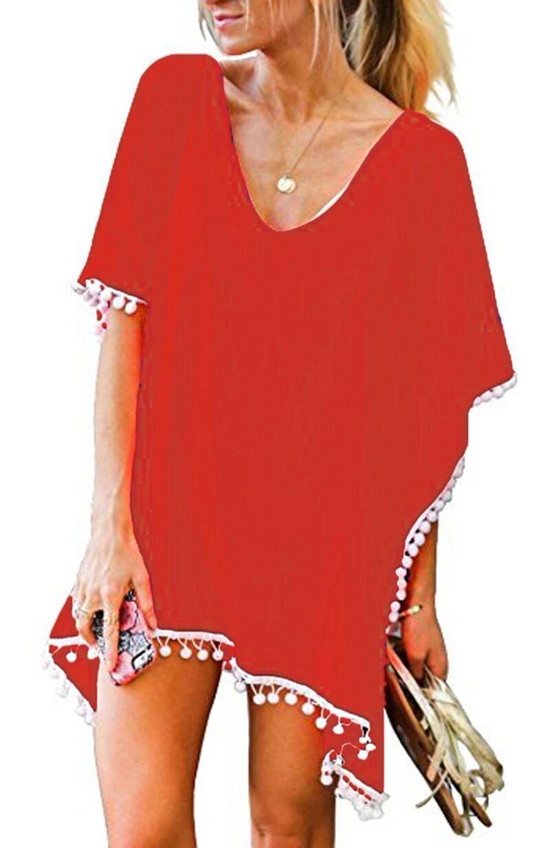 OLRAIN Women Pompom Trim Chiffon Tassel Swimsuit Stylish Beachwear Bikini Cover up (Small, Orange)
