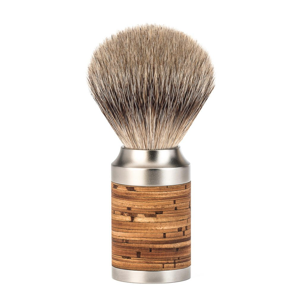 MÜHLE–Brocha de afeitar (pelo de tejón Rocca 091M95–S/punto/Mangos de acero inoxidable, griffmittelteil birkenrindenlaminat 091M95