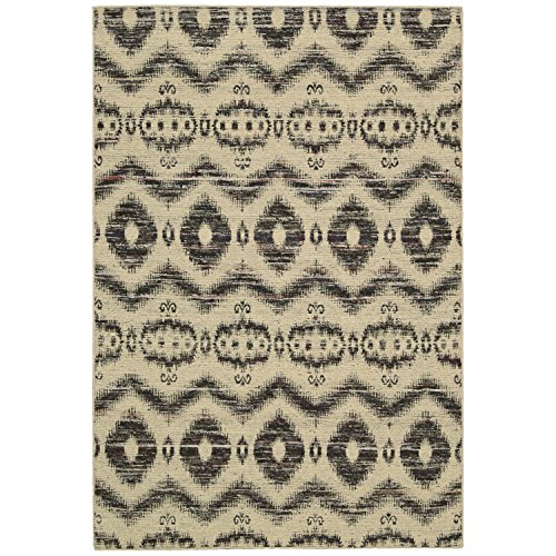 Black Nourison Nourison Rug (Nourison Spectrum (SPE01) Beige Black Rectangle Area Rug, 5-Feet 3-Inches by 7-Feet 5-Inches (5'3