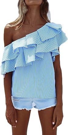 Camisas Mujer Verano Rayas Sin Mangas Hombros Descubiertos Volantes Elegantes Vintage Asimetricas Irregular Jovenes Moda Outdoor Casual Camisa Blusa Blusas Tops: Amazon.es: Ropa y accesorios