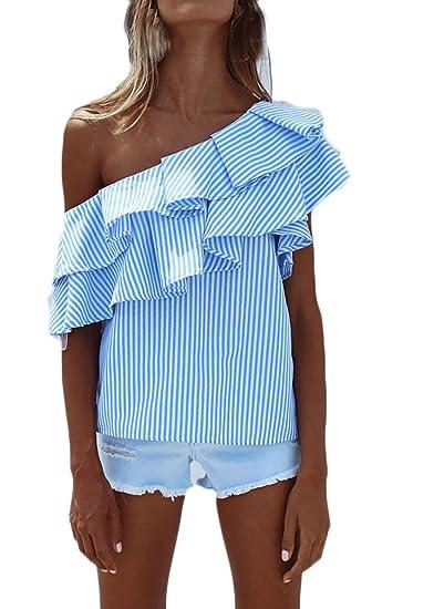 Camisas Mujer Verano Rayas Sin Mangas Hombros Descubiertos Volantes Elegantes Vintage Asimetricas Irregular Jovenes Moda Outdoor