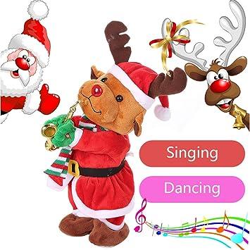 ALIKEEY Navidad Baile Eléctrico Cantando Renos Animados ...