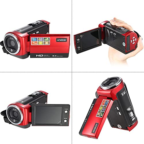 Andoer HD Camcorder 720P Digital Video Camera 16MP DVR 2.7inch TFT LCD Screen 16x ZOOM, Red