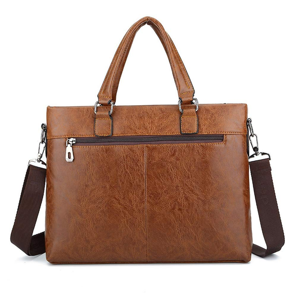 DQMSB Mens Bag Shoulder Bag Leather Business Cross Section Mens Handbag Messenger Bag Computer Briefcase Color : Brown