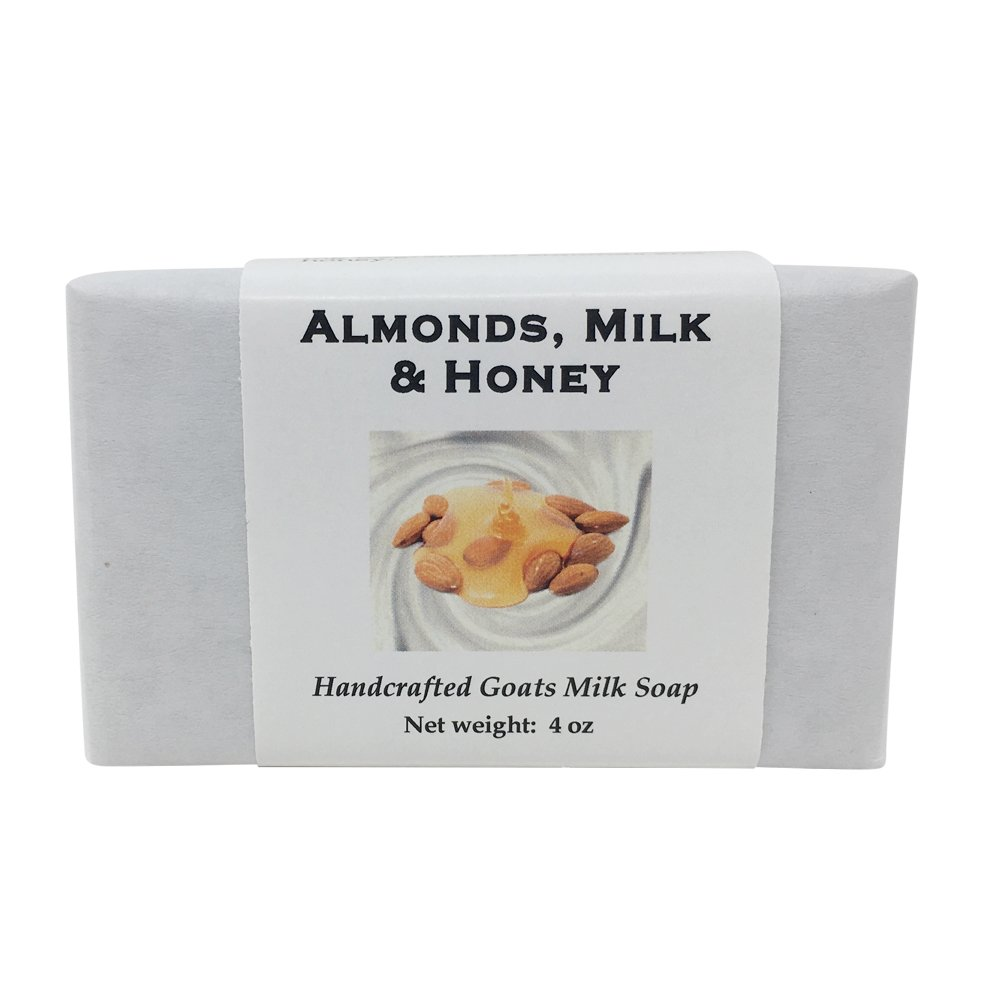 Almond Milk and Honey Handmade Soap with Goat Milk, Shea Butter, Cocoa Butter, Sweet Almond, Fragrance and Essential Oils (One Bar) by MoonDance Soaps and More