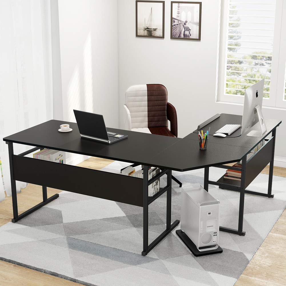 Tribesigns Modern L-Shaped Desk with Bookshelf, 67 Double Corner Computer Office Desk Workstation Drafting Drawing Table with Tiltable Tabletop for Home Office Black