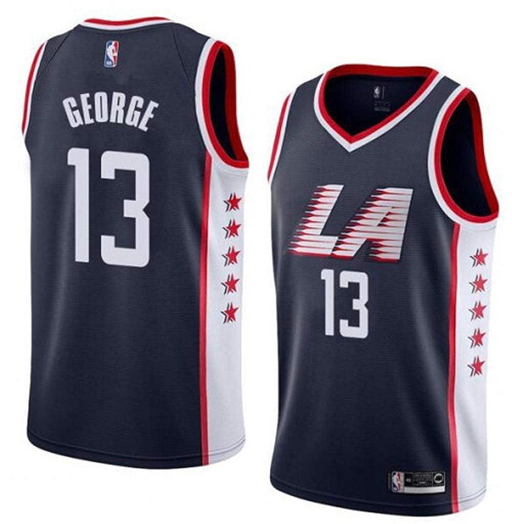 Mens Clippers George 13# Jersey Paul Black T-Shirt Jersey Short Sleeve Sport Top