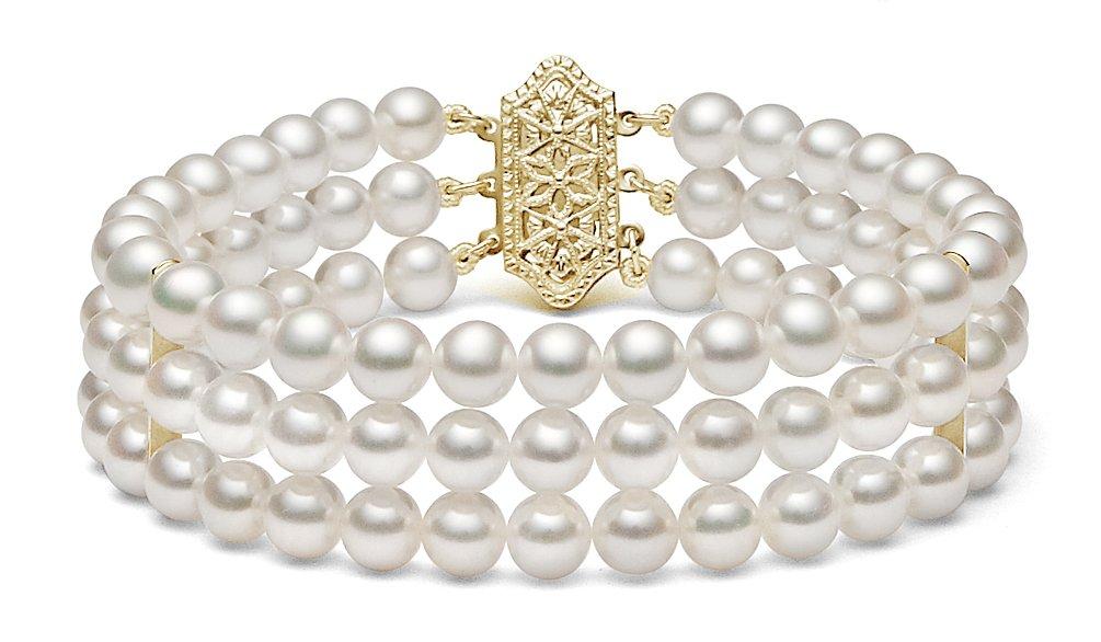 14k Yellow Gold Triple Strand White Japanese Akoya Cultured Pearl Bracelet (6-6.5mm), 7''