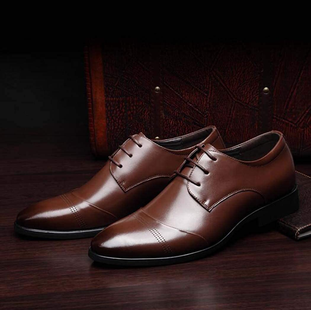 Mens Handmade Leather Modern Classic Lace Up Leather Lined Dress Shoes Color : Brown, Size : 40
