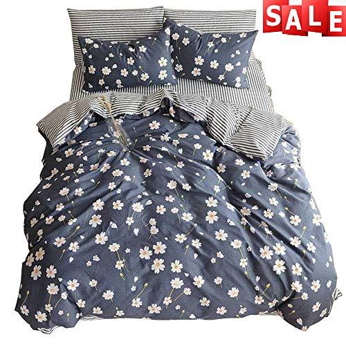 - Vintage Flower Duvet Cover Set Queen for Zipper Closure Romantic Floral Duvet Cover Set,Super Soft Stripe Kids Bedding Collections Full Navy Blue(Queen,Daisy) NO Comforter