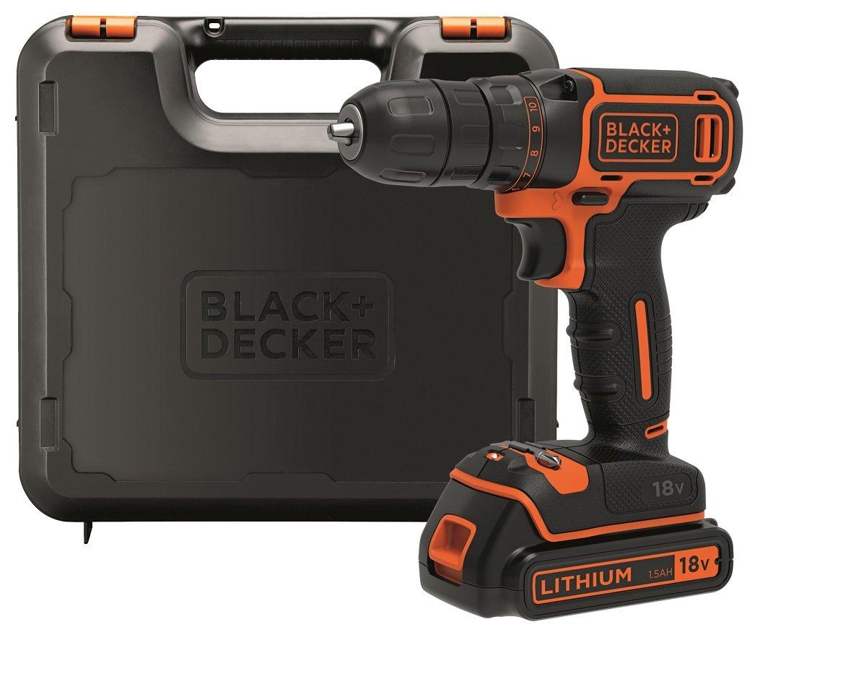 BLACK+DECKER BDCDC18K-QW Trapano Avvitatore, 18 V, al Litio, 1.5 Ah, Valigetta, Arancione product image