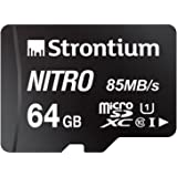 Strontium Nitro (SRN64GTFU1QR) 64GB Micro SDHC Memory Card 85MB/s UHS-I U1 Class 10 High Speed for Smartphones/Tablets…