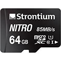 Strontium Nitro 64GB Micro SDXC Memory Card 85MB/s UHS-I U1 Class 10 High Speed for Smartphones Tablets Drones Action Cams (SRN64GTFU1QR)