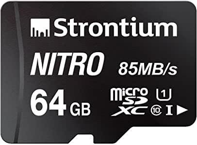 Strontium Nitro 64GB Micro SDHC Memory Card 85MB/s UHS-I U1 Class 10 High Speed for Smartphones/Tablets/Drones/Action Cams