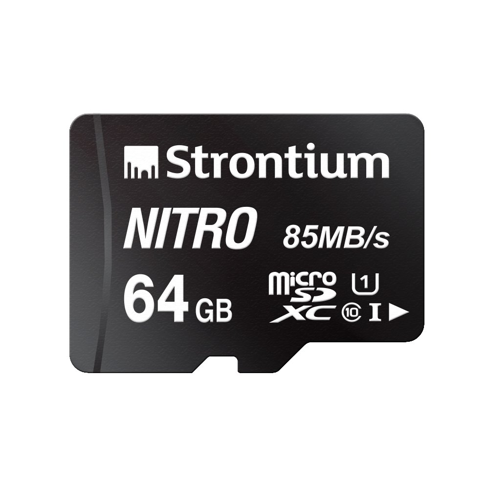 Strontium Nitro 64GB Micro SDXC Memory Card 85MB/s UHS-I U1 Class 10 w/Adapter High Speed for Smartphones Tablets Drones Action Cams (SRN64GTFU1QA)