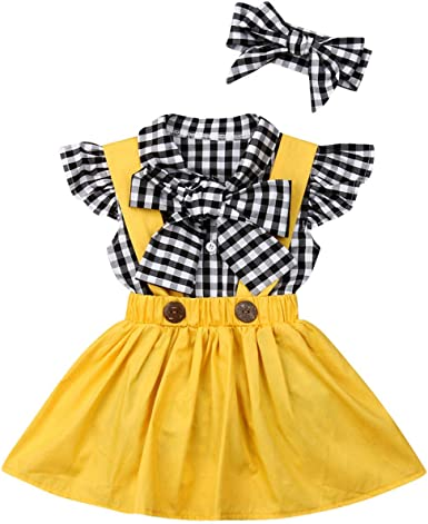 Overall Skirt Toddler Baby Girls Ruffles Sleeve Dots Bowknot Shirt Headband Outfits Set