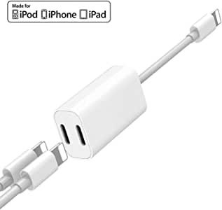[Apple MFi Certified] Dual Lightning Adapter, 2 in 1 Double Lightning Headphone Audio + Charge Splitter for iPhone 11/11 Pro/XS/XR/X 8, iPad, Support iOS 13 + Sync Data + Music Control + Phone Calling