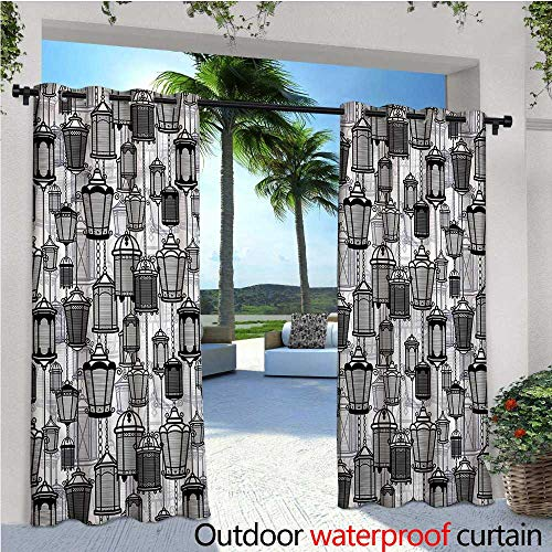 warmfamily Lantern Outdoor Blackout Curtains Vintage Lanterns Hanging Outdoor Privacy Porch Curtains W96 x ()