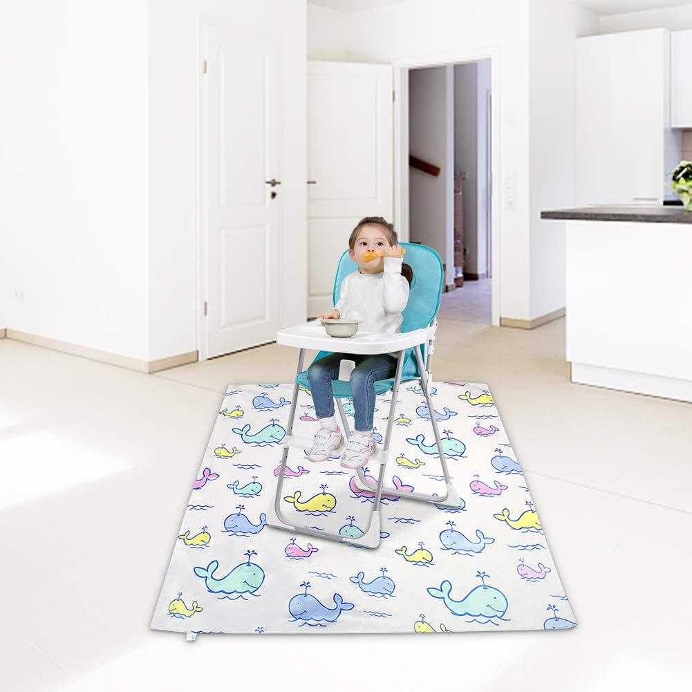 110 cm * 110 cm, Giraffe f/ür Kinder Baby Kleinkind f/ür die F/ütterung Hochstuhl gedruckt waschbar faltbare wasserdichte Spritzmatte Hochstuhl-Spritzmatte Baby