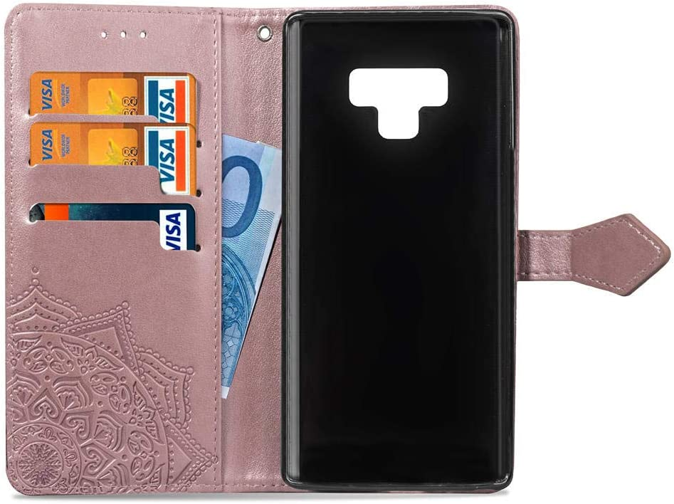 Leather Wallet Case for Samsung Galaxy Note 8,Moiky Stylish Blue Mandala embossed Pattern Soft PU Leather Magnetic Stand Clamshell Case Silicone Rubber Protective Cover for Samsung Galaxy Note 8