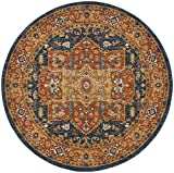 Safavieh Evoke Collection EVK275C Oriental Medallion Blue and Orange Round Area Rug (3′ in Diameter) Review