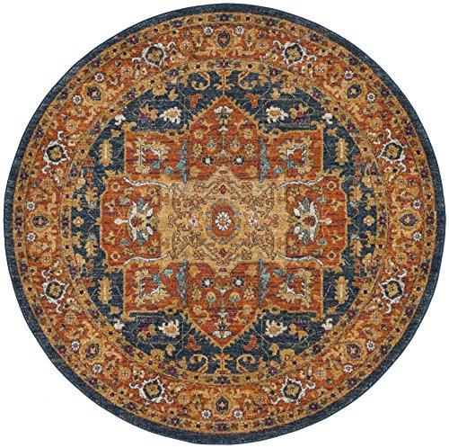 Safavieh Evoke Collection EVK275C Oriental Medallion Blue and Orange Round Area Rug (3' in Diameter)