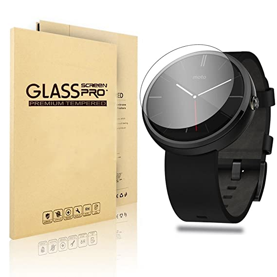 Motorola Moto 360 Watch Screen Protector,VIMVIP Edge Tempered Glass Smartwatch Protective Film Screen Protector Compatible for Motorola Moto 360 Smart ...