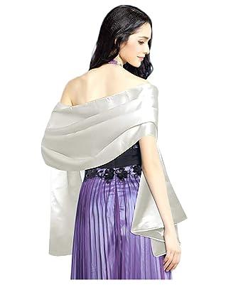 KELAND Femmes Écharpe Châle Étole En Satin Foulard Wrap Pashmina Pour  Soirée Cérémonies Mariage (Blanc 50b3753f98c