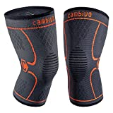 Cambivo 2 Pack Knee Brace, Knee Compression Sleeve Support for Running, Arthritis, ACL, Meniscus Tear, Sports, Joint Pain Relief and Injury Recovery (Small)