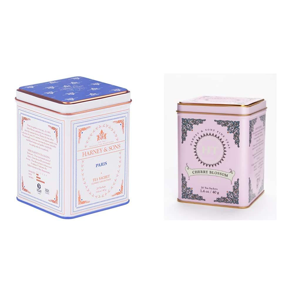 Harney & Sons Paris, Black Tea, 20 Sachets & Caffeinated Cherry Blossom Green Tea Tin - 20 Sachets